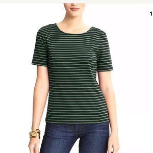 Banana Republic Green Blue Striped Short Sl Shirt